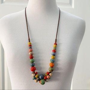 Multi Beads Long Statement Necklace Handmade